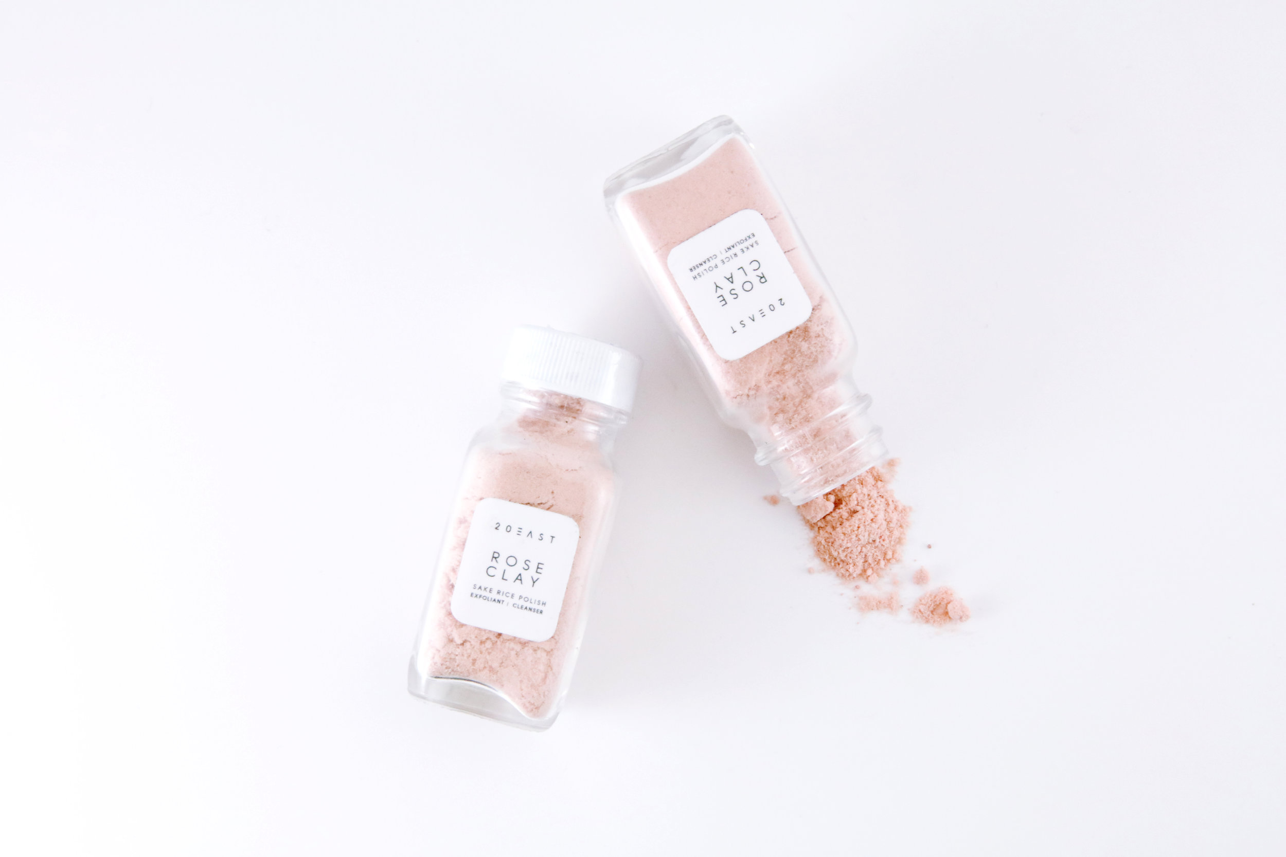 Beauty Item: Rose Clay   20 EAST BOTANICALS ROSE CLAY SAKE RICE POLISH is driven by handcrafted, natural, ethical, ingredients.  An everyday foaming scrub that exfoliates mildly and removes dirt, gently respecting your skin.  HOW TO USE: Pour a little in your hands, add some warm water until you have a thin paste. Massage onto clean and damp face, rinse and pat dry for perfection.