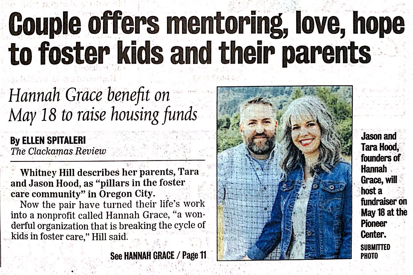 Clackamas Review/ Oregon City News - Featuring Hannah Grace Founder's Jason and Tara Hood