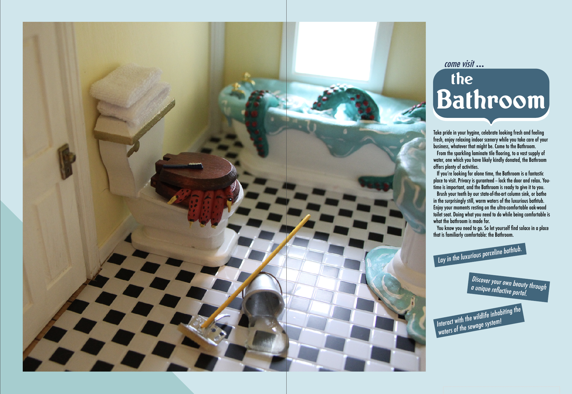 Sample spread from the Bathroom travel guide.