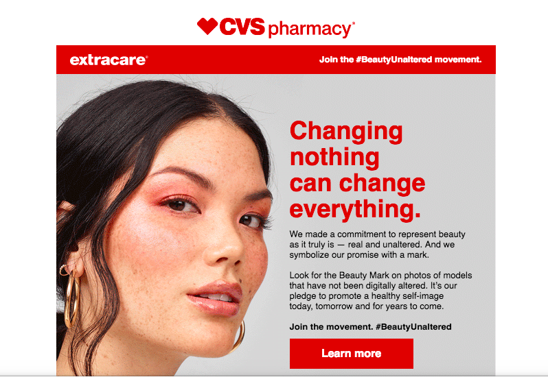 A Reuters press release announced that by 2020, all images in-store will be marked as unaltered, and all images in CVS.com already are.