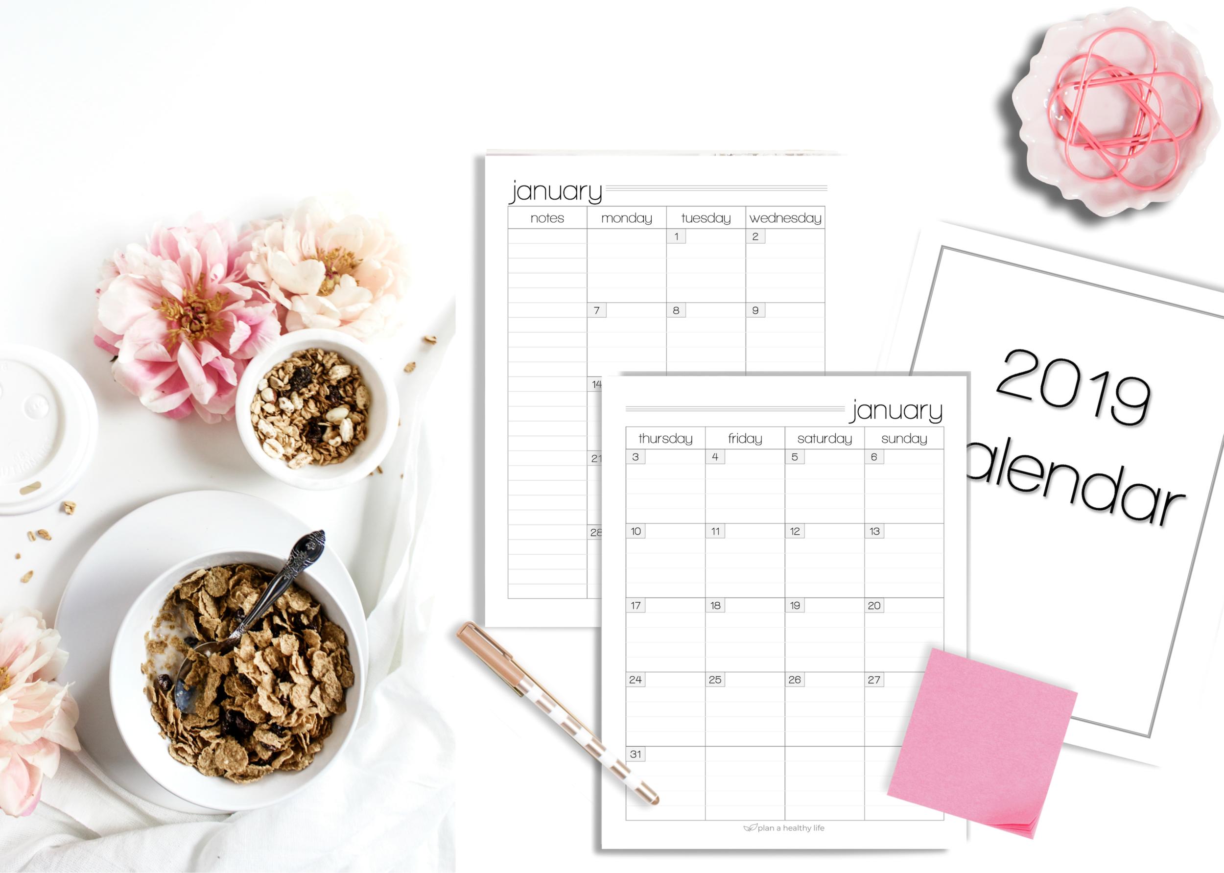 december freebie 2019 calendar plan a healthy life
