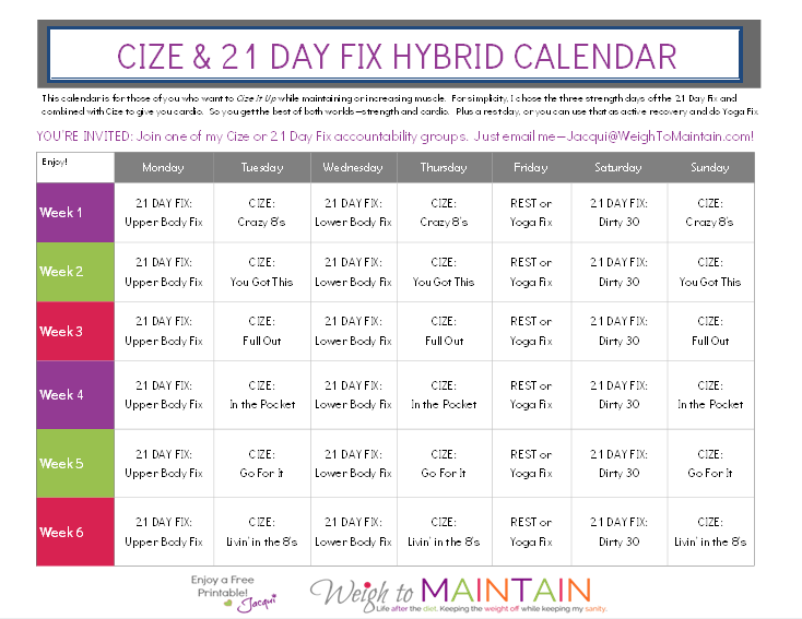 cize and 21 day fix hybrid calendar