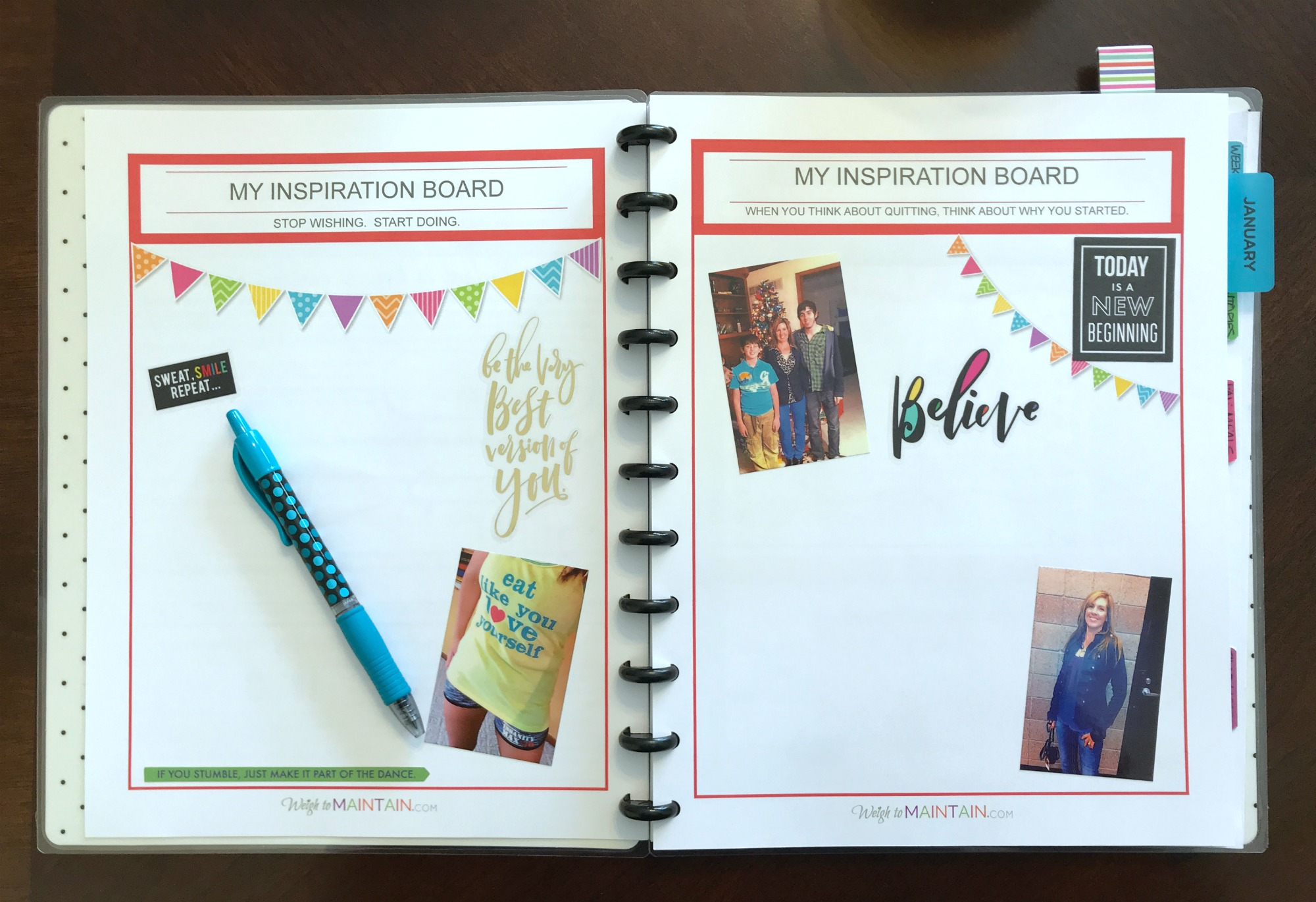 This inspiration board is in a  printable fitness planner .