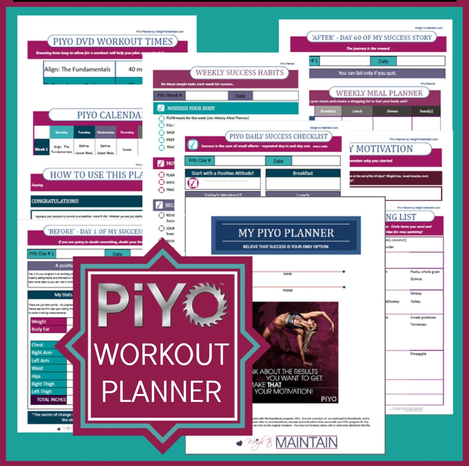 PiYo Planner - Printable PiYo Workout Journal to plan meals, log food and workouts, and track your progress every day of the PiYo program!