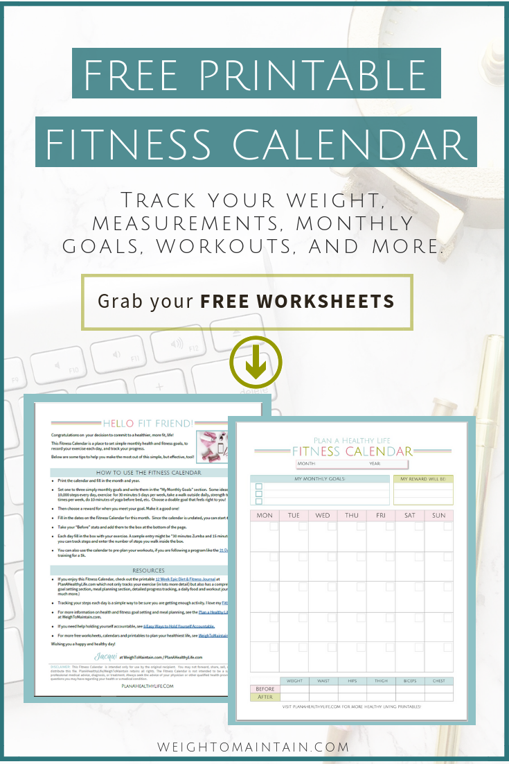 Free printable fitness calendar from Plan a Healthy Life.