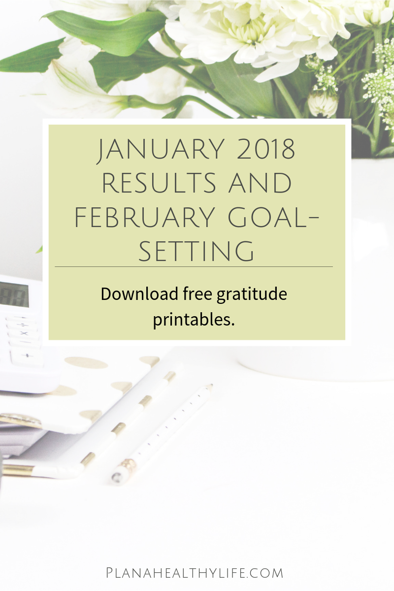 January results and February Goal Setting with free gratitude printables. Plan a Healthy Life