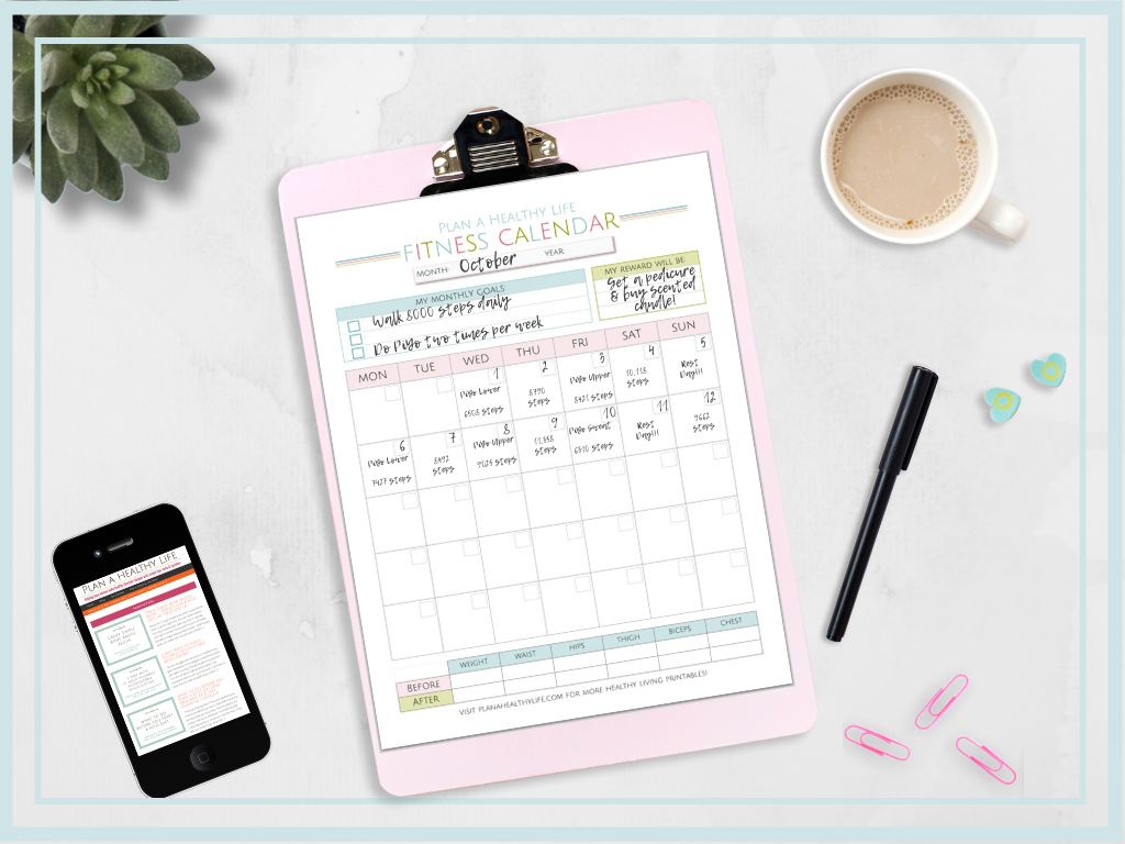 Free printable fitness calendar. - Track goals and workouts for an entire month!