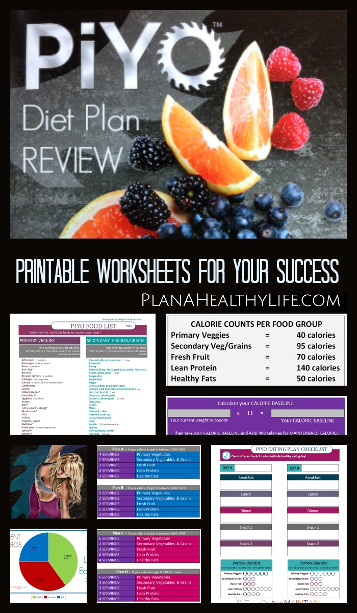 Review of the PiYo Meal Plan diet by Plan a Healthy Life with free printable food list and daily food tracker.