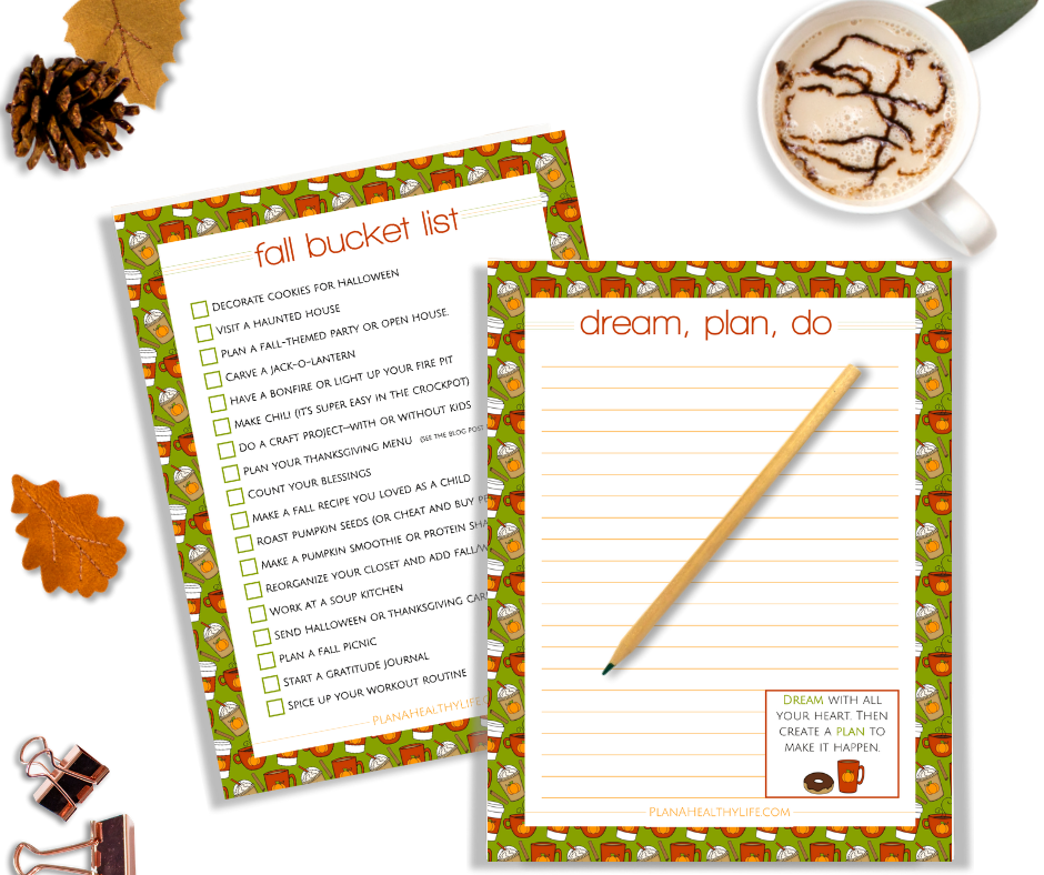 Download a free printable fall bucket list at Plan a Healthy Life