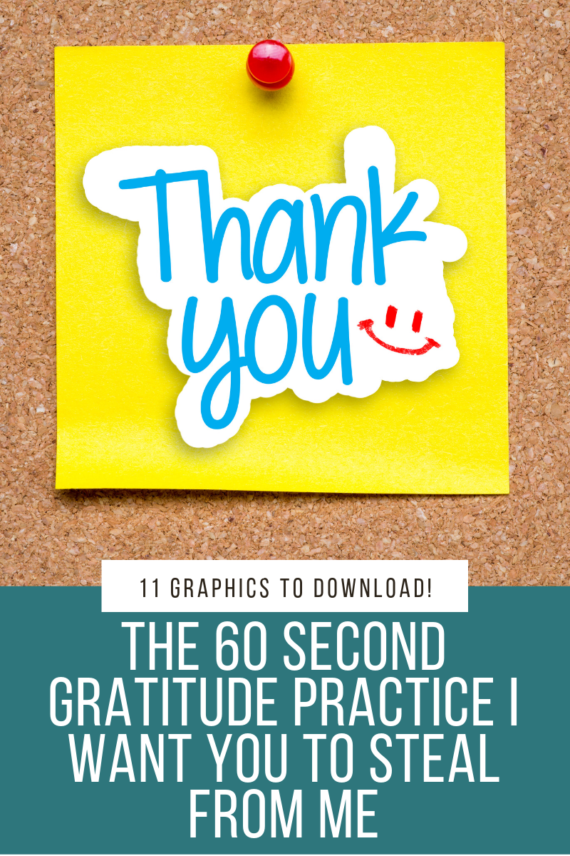 Sometimes the best ideas come from unexpected inspiration! I spent 60 seconds telling people in my life I was grateful for them and the most amazing thing happened. Not only did I brighten their day, but it brought amazing joy to my own life. I'll share this simple 60 second gratitude practice and I have 11 fun graphics to make your gratitude messages colorful and inspiring.