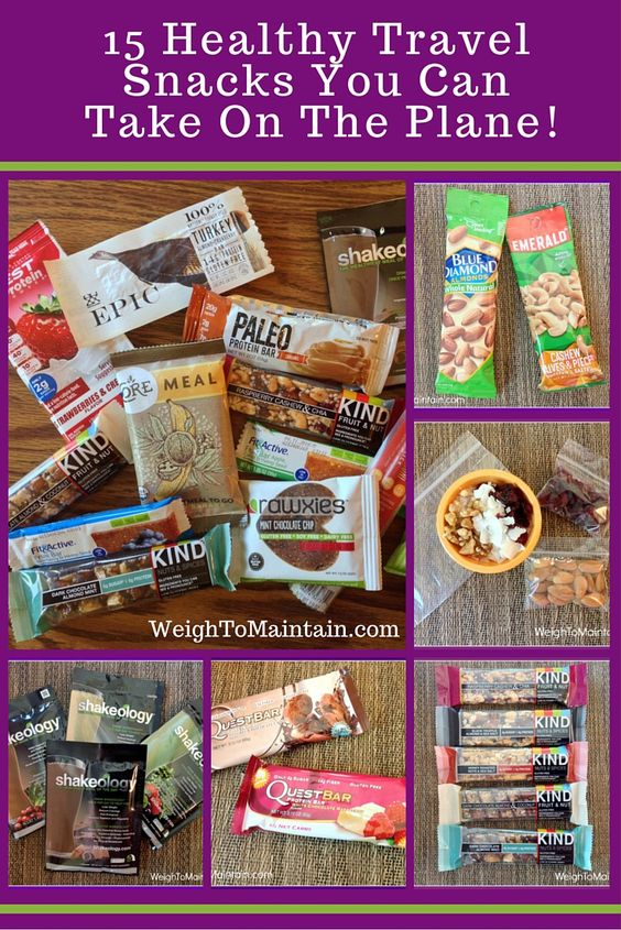 Traveling by plane? It's simple to pack healthy snacks for your trip. This post shares my top 15 healthy travel snacks, including protein bars, nuts & seeds, fruit, veggies, trail mix, jerky or dried meat, dark chocolate, breakfast cookies, and more!