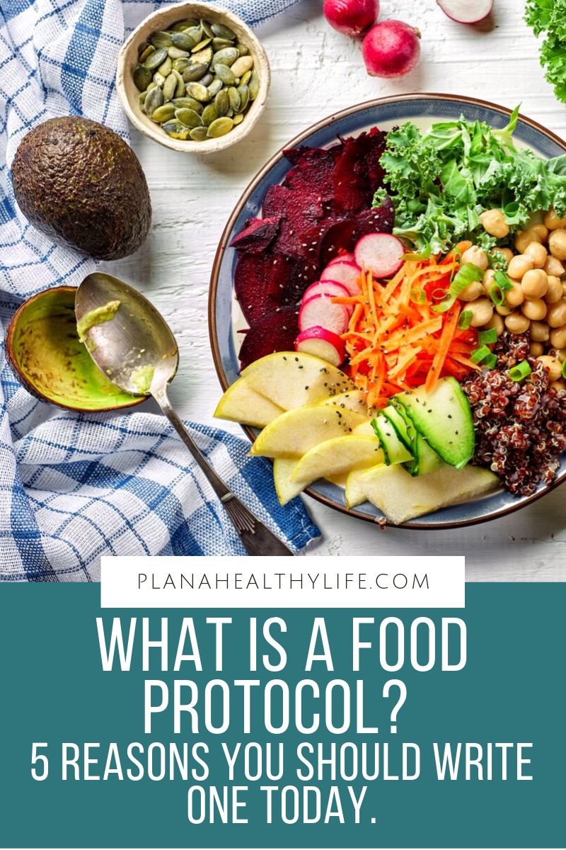 What is a food protocol? It is a set of eating guidelines that you create for yourself to meet your weight loss, nutrition, or health goals. It includes specific foods you will eat (or not eat), how many meals you'll eat per day, how much water you will drink, and more. Learn the 5 reasons you should write a food protocol and I'll share a step-by-step system to write your own.