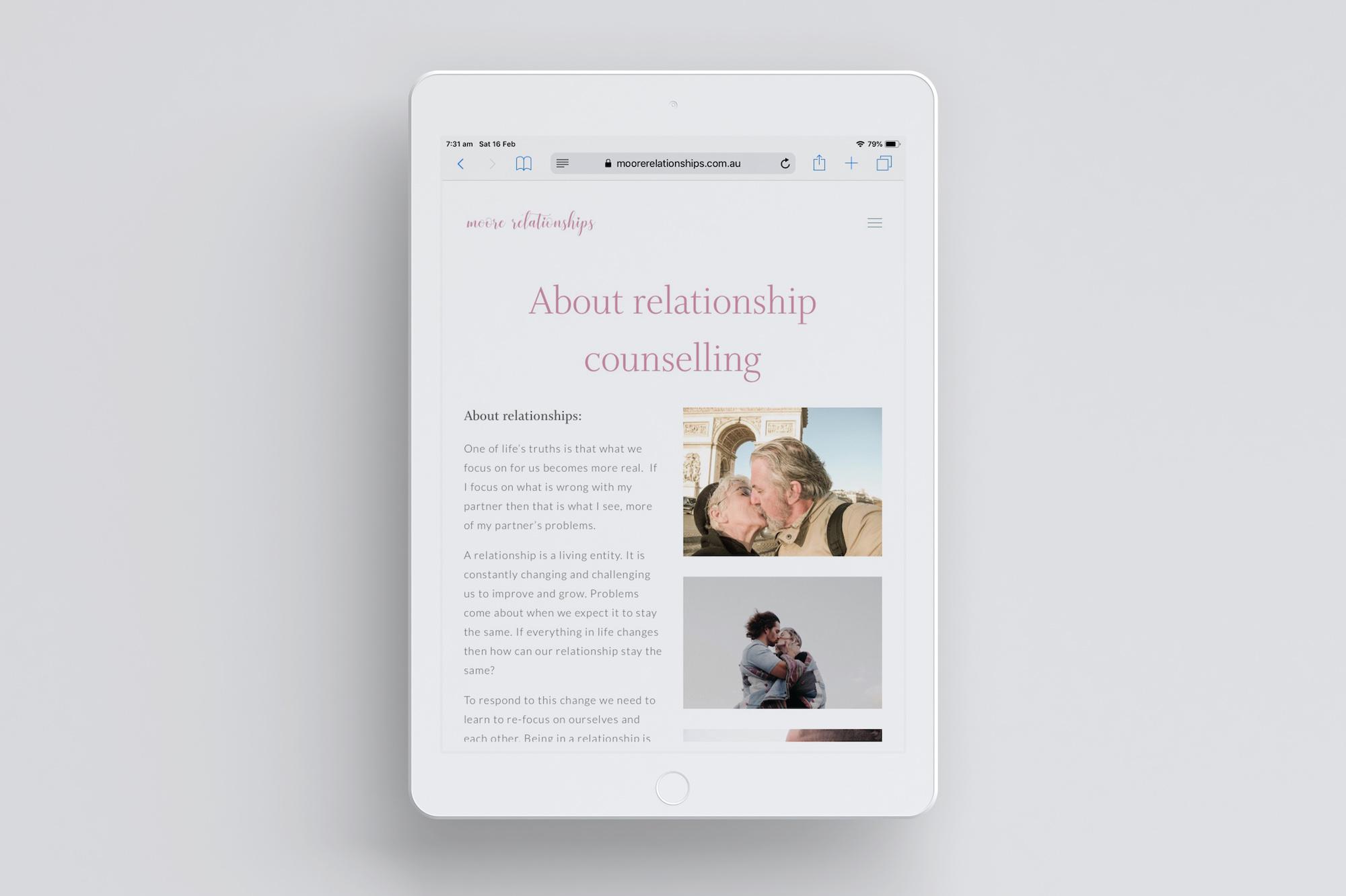 Moore Relationships Counselling iPad mock up Plush Design Studio Coffs Harbour.jpg