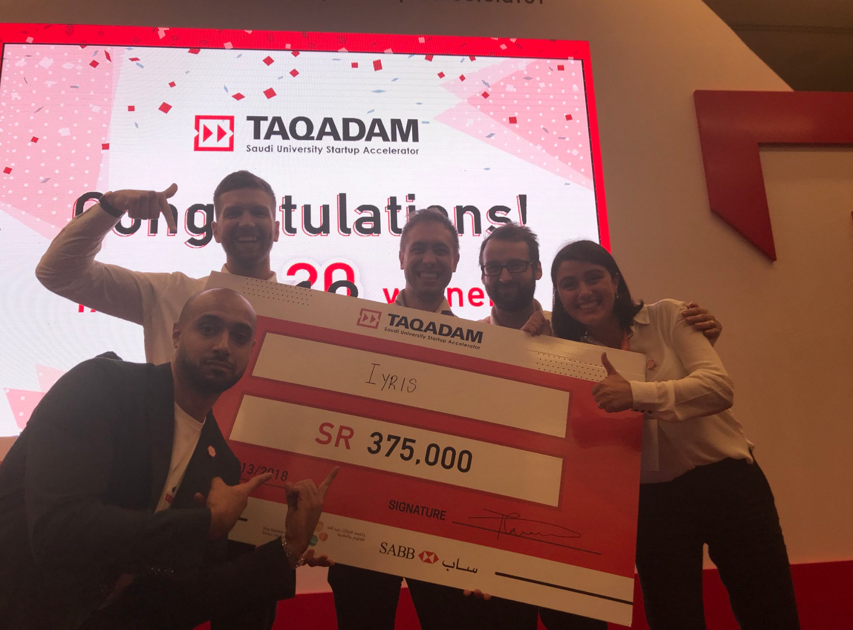 Iyris Team Wins TAQADAM Finals - 13/9/18Born out of the Omega Lab, the Iyris company is a startup comprising of Professor Derya Baran, Nicola Gasparini, Joel Troughton and Daniel Bryant. The Iyris company aim to generate electricity from windows using new transparent photovoltaic technologies.Recently, the Iyris Team won the TAQADAM finals held at KAUST!