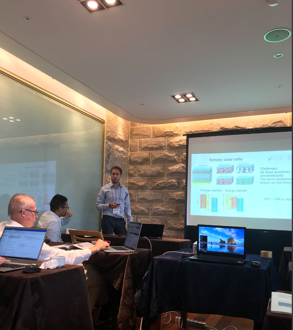 Nicola Gasparini gives an invited talk of Ternary Solar Cells - 7/7/18Master of ternary solar cells, Post Doc Nicola Gasaparini, recently gave his first invited talk at ISOEMD with great scientists from Korea, Sweden, China, Ethiopia and KAUST in South Korea.