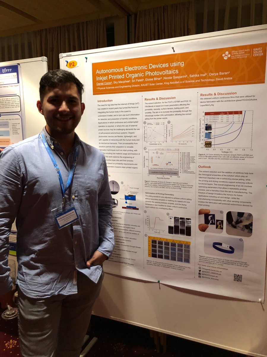 Daniel Corzo presents his work at the Bioelectronics Conference in Austria - 16/3/18PhD student Daniel Corzo presents his work on inkjet printed solar cells applied to bioelectronics at the Biolectronics Conference in Austria.