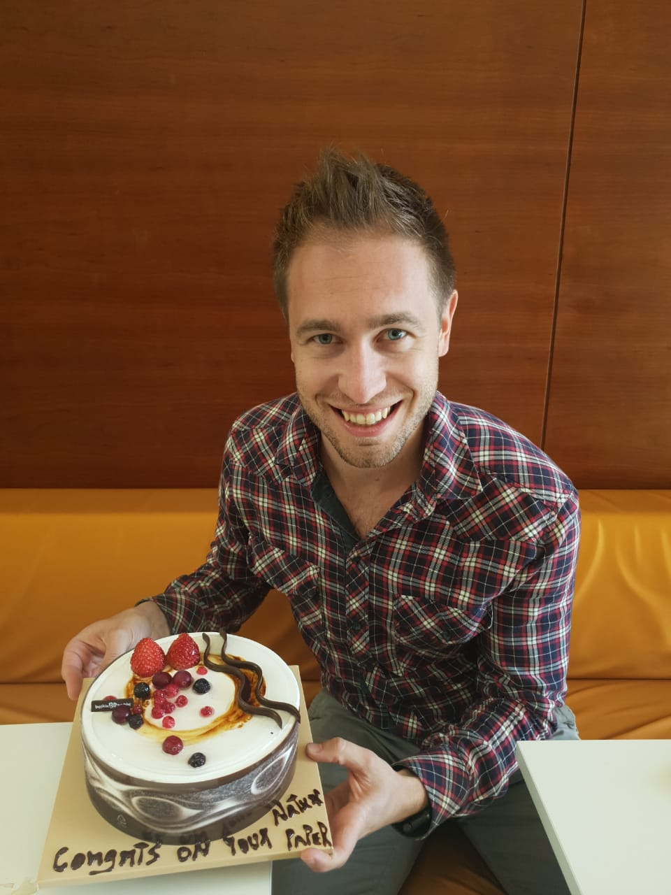 Congrats on the Nature Review Paper! - 7/03/19A well-deserved cake celebration for OMEGALAB Post-Doctoral Fellow Nicola Gasparini for his latest Review in Nature Review Materials, examining the role of the third component in ternary organic solar cells. Well done to all involved (Derya Baran, Iain McCulloch and Alberto Salleo). https://www.nature.com/articles/s41578-019-0093-4