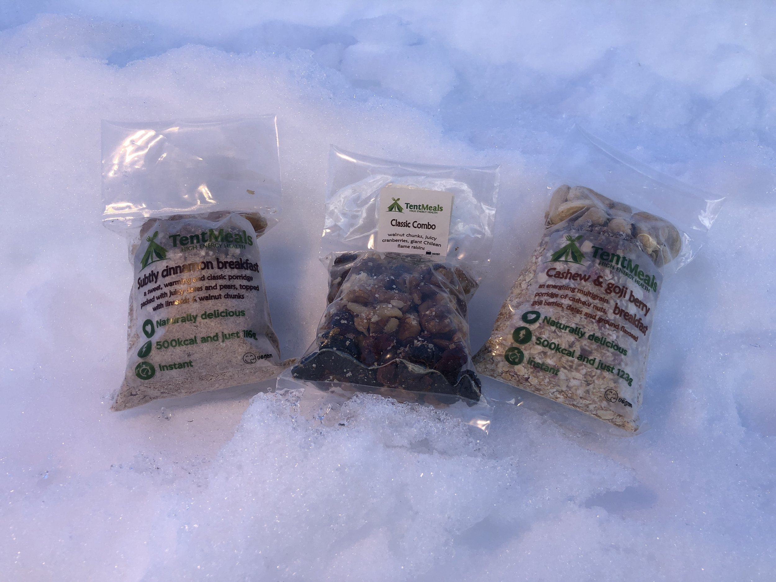 Food - Tent Meals - Having tried many expedition meals we decided to go with Tent Meals because not only are they freakin delicious but they're exclusively Vegetarian and Vegan!