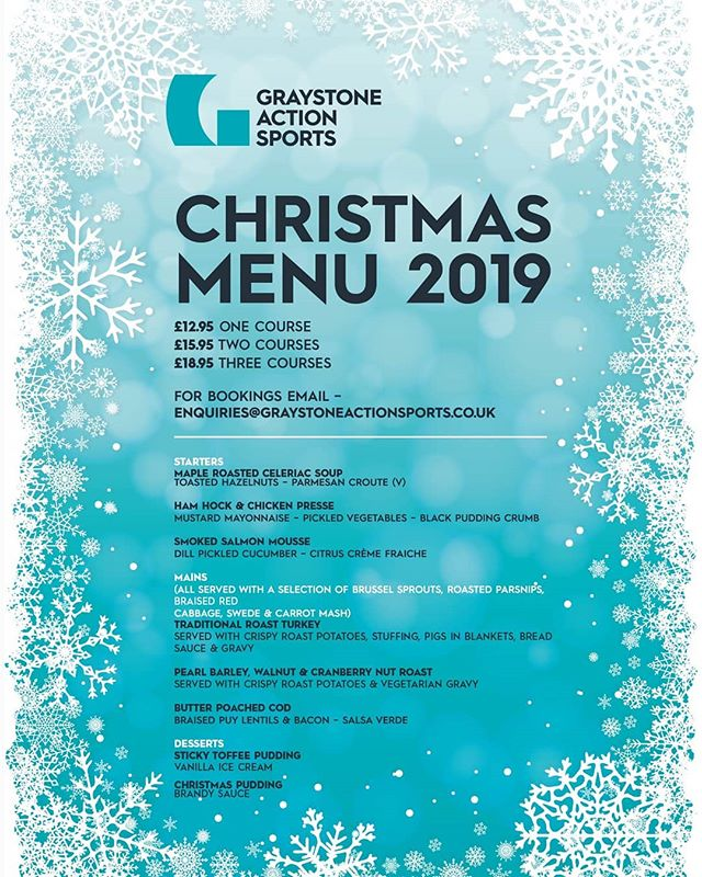 Apparently it's only 13 weeks away! 😲 🎄Our Chrimbo menu will be available from the end of November!🎄 Family dinners, small parties, large parties and work do's...look no further.  Get in touch: enquiries@graystoneactionsports.co.uk  10% dicount on early bookings 🤙