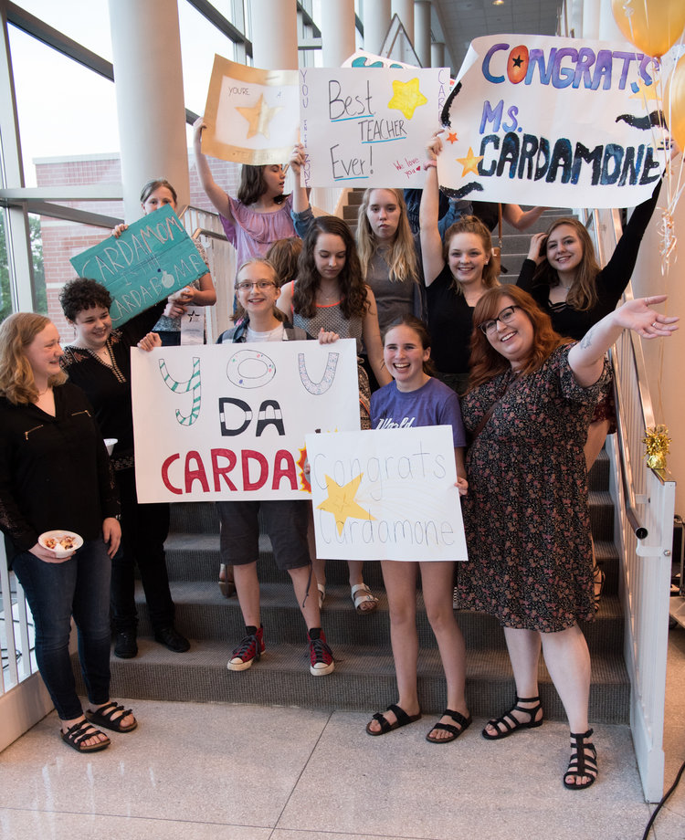 2018 Gold Star teacher Ashley Cardamone, Art Teacher at Holmes Junior High & her fan club.