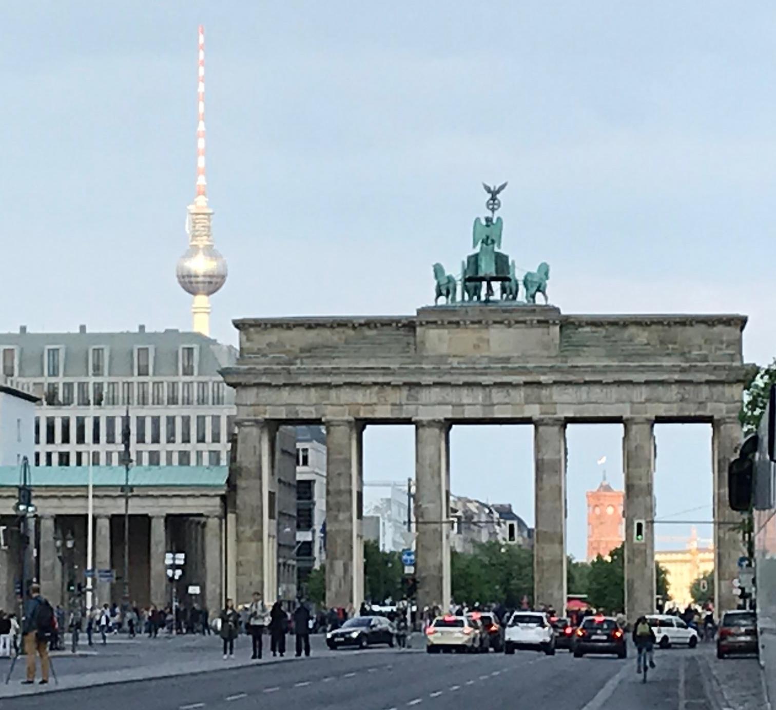 - Brandenberg Gate with the Fernsehturm behind