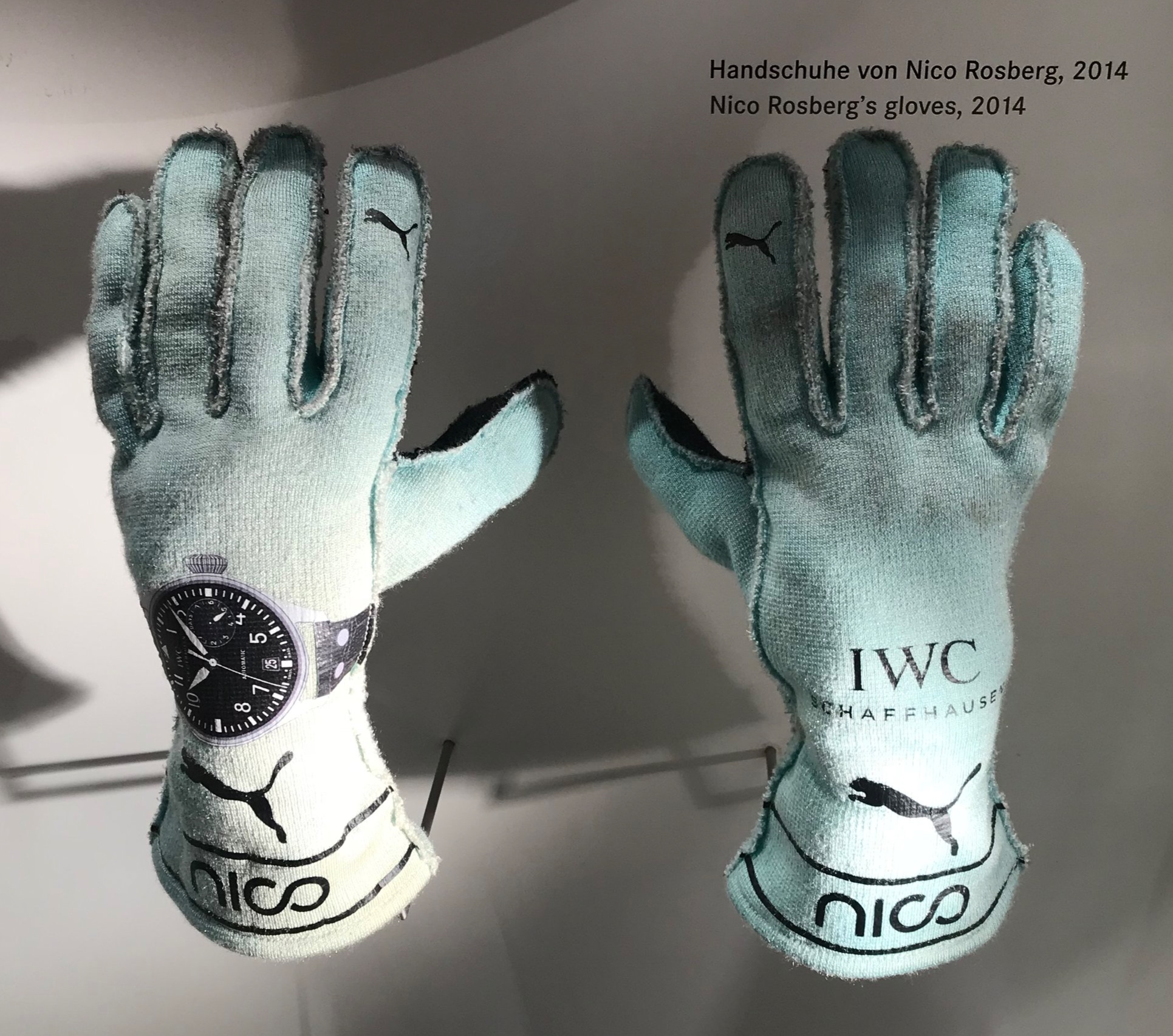 - Nico Rosberg's Gloves, 2014, on display at the Mercedes-Benz Museum, Stuttgart, Germany. Photograph: Grace Lees-Maffei, April 2018.