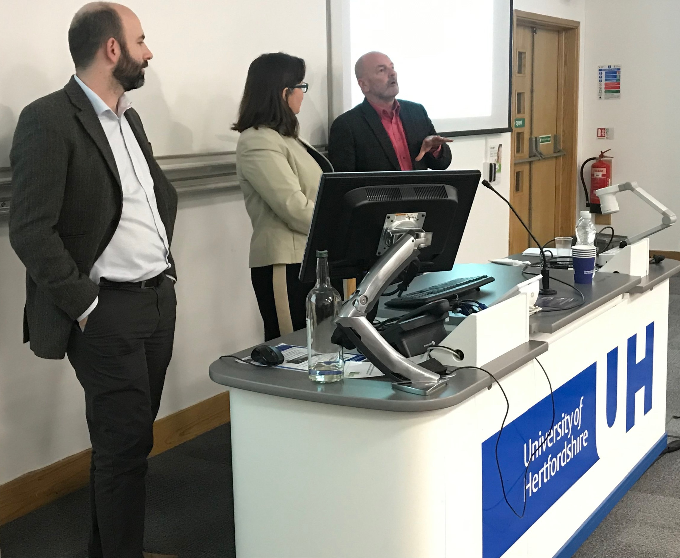 - ResDev19 Keynote Panel: Career Development, L to R: Assoc. Prof Daniel McClusky, School of Engineering and Technology; Dr Elanor Warwick, Head of Strategic Policy & Research at Clarion Housing Group, and Prof Nigel Culkin, Complexity and Management Group.