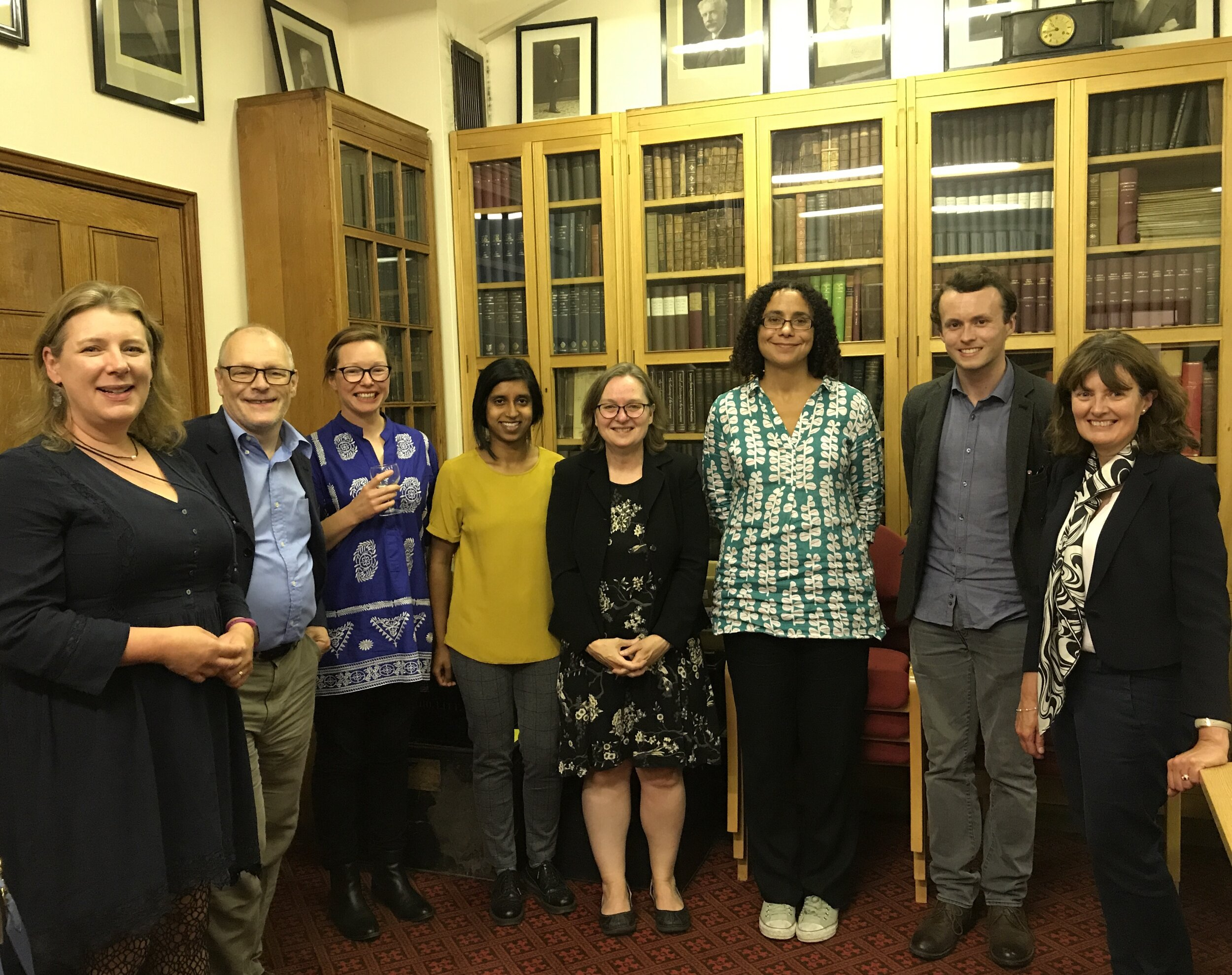 L-R: Prof Grace Lees-Maffei and Prof Jonathan Morris (Hertfordshire), Dr Victoria Leonard (Royal Holloway), Dr Shahmima Ahktar (Past and Present Fellow, Royal Historical Society), Prof Margot Finn (UCL), Prof Katherine Harloe (Reading), Edwin Rose (University of Cambridge), Dr Clare Taylor (Open University). Photograph by Council Member Dr Oleg Benesch (Senior Lecturer in East Asian History, University of York).