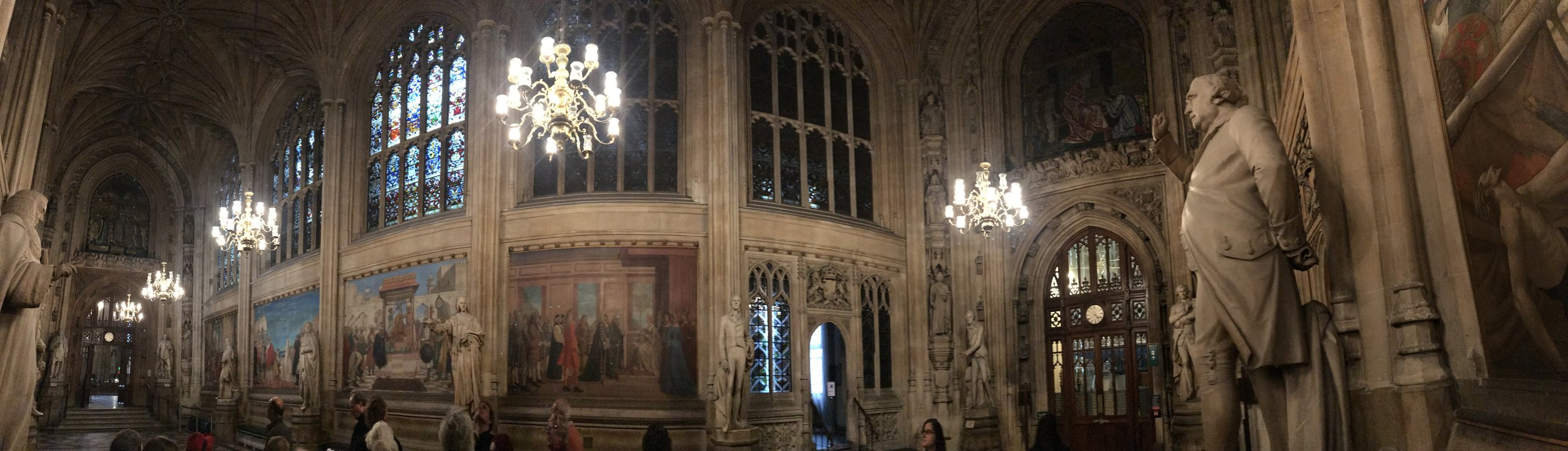 Panorama of St. Stephen's Hall, Palace of Westminster. All photographs by Grace Lees-Maffei.