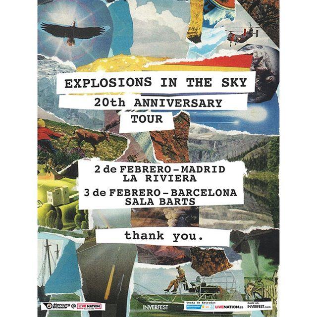 Si os decimos que la gira del 20 aniversario de Explosions in the Sky llegará en febrero a Madrid y Barcelona ... ¿QUÉ? . Preventa este lunes 8/07 en @livenationesp . Entrada general a la venta el 10 de julio en @livenationesp y @ticketmasteres💥💥💥 . 02/02/20 La Riviera . 03/02/20 BARTS . . @explosionsinthesky #explosionsinthesky #Madrid #Barcelona #lariviera #barts @inverfest #inverfest