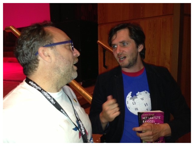 MEETING JIMMY WALES AFTER MY SHOW AT WIKIMANIA 2014. IT LOOKS LIKE WE'RE ABOUT TO FRENCH KISS, BUT WE DIDN'T, OR AT LEAST I DON'T REMEMBER.