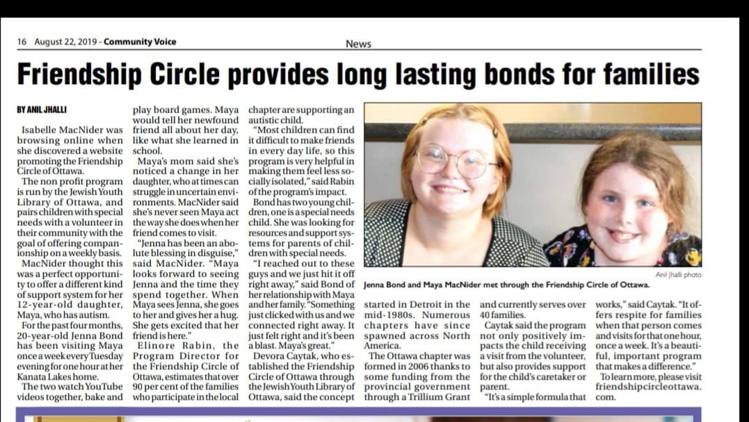 Friendship Circle is in the news! Thank you, Community Voice, for featuring a story about Jenna and Maya's friendship and the impact Friendship Circle has had on their lives.