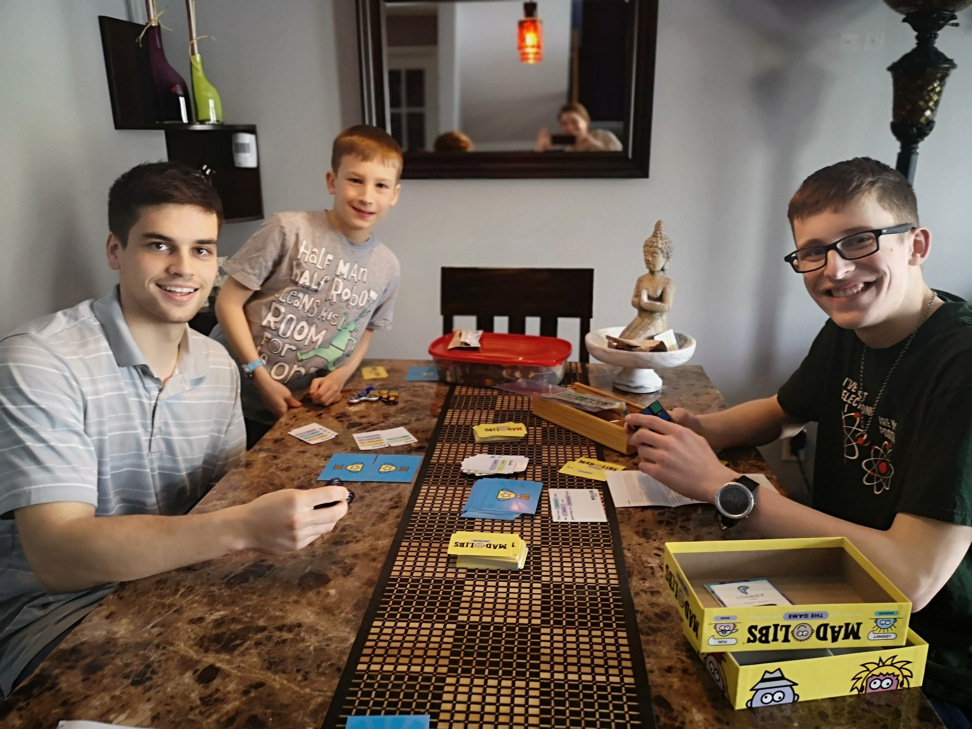 Scott and his two buddies enjoy board games among other activities during their visits. It was a blast hanging out with these incredibly intelligent and hilarious guys.