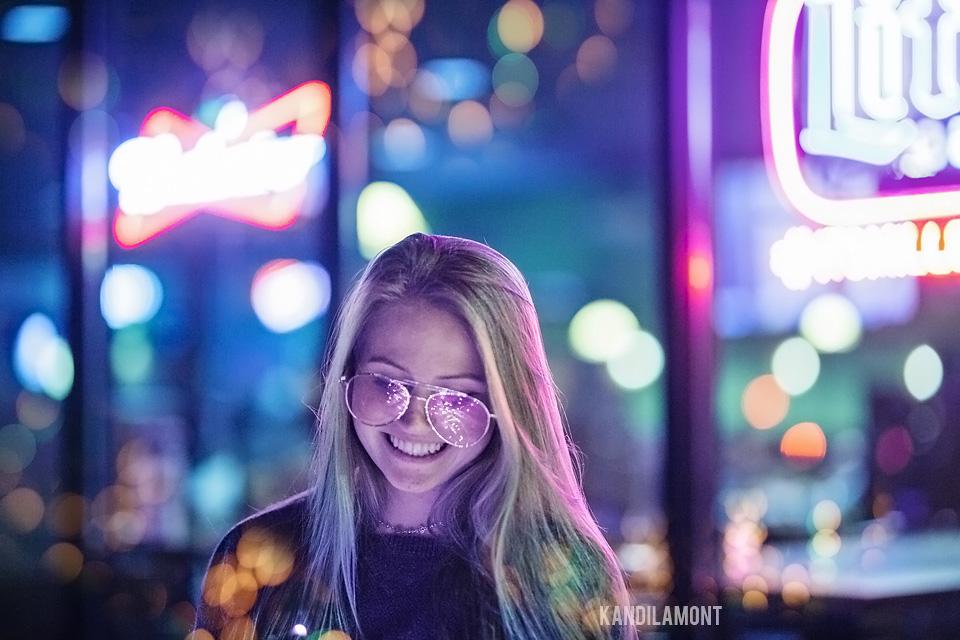 senior night neon photo shoot