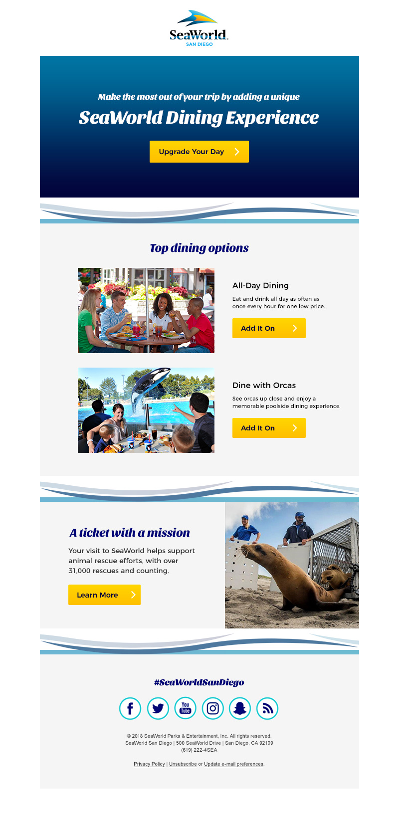 Post purchase email (SeaWorld San Diego)