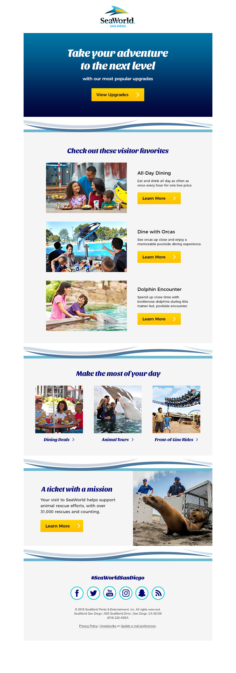 Post purchase upgrade email (SeaWorld San Diego)