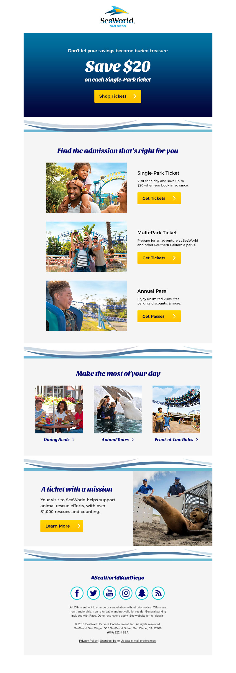 Ticket abandonment email (SeaWorld San Diego)