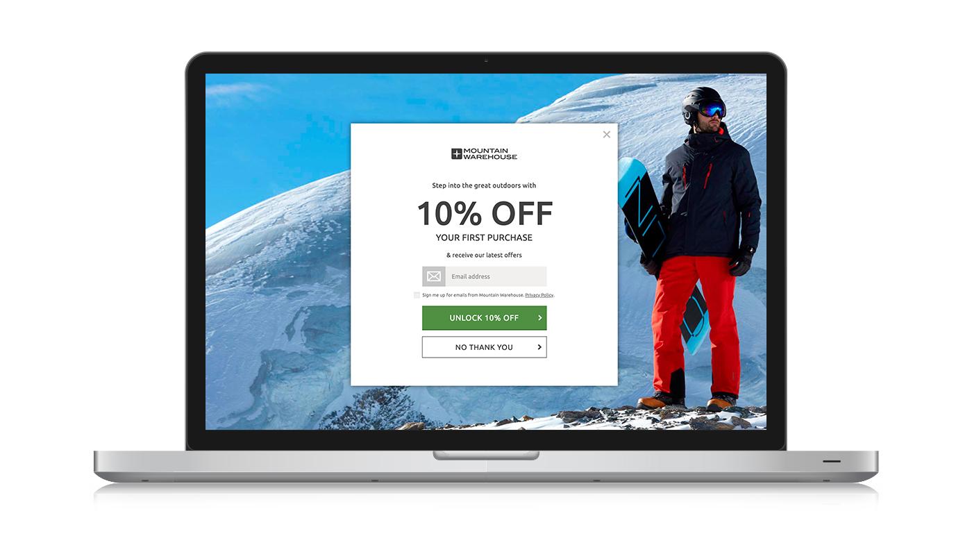 Mountain Warehouse - full screen entrance email capture on desktop