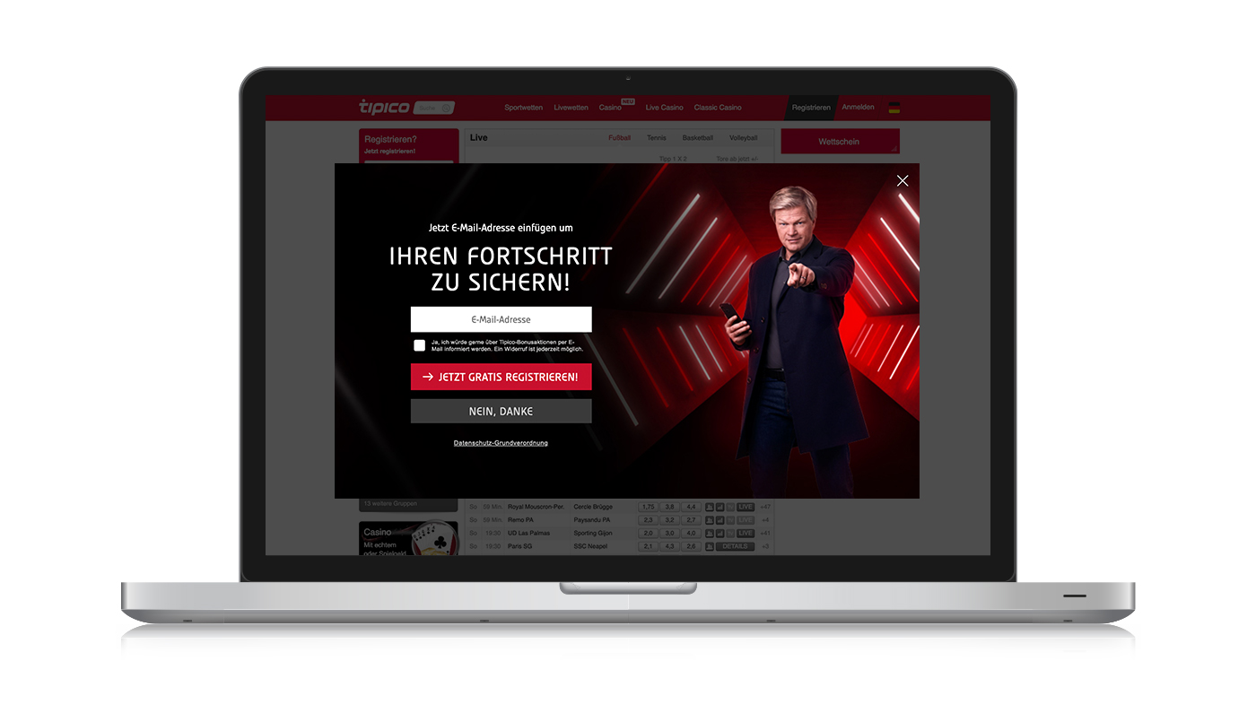 Tipico - email capture overlay for German market