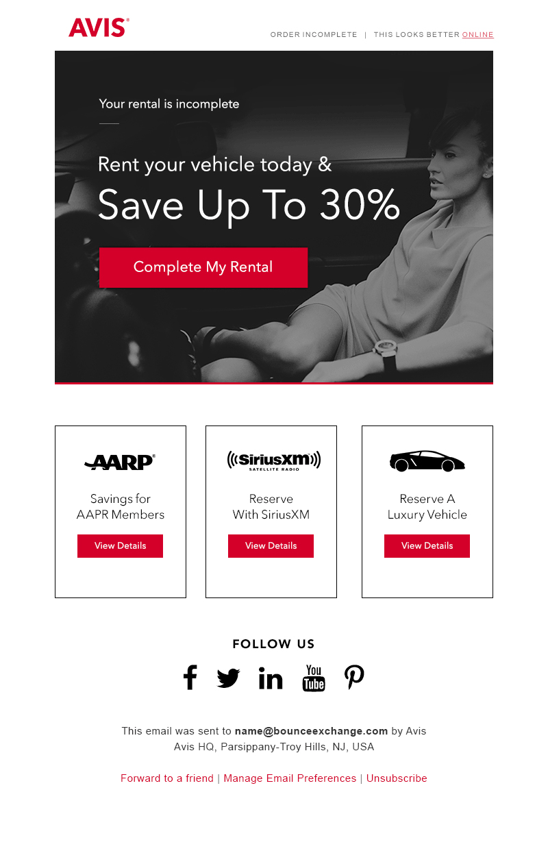 Avis - cart abandonment email