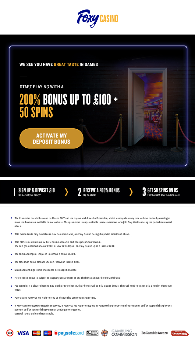 Foxy Casino - cart abandonment email