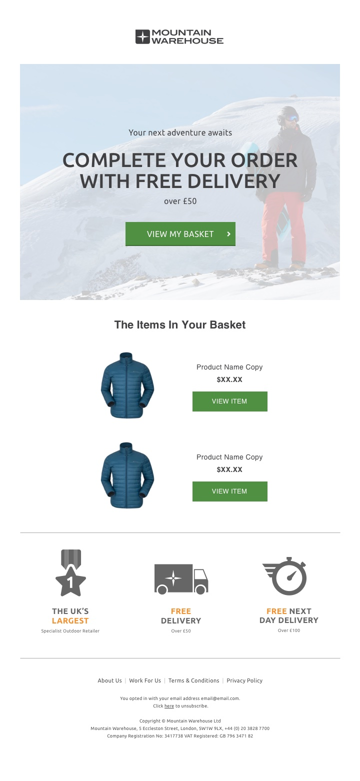 Mountain Warehouse - cart abandonment email