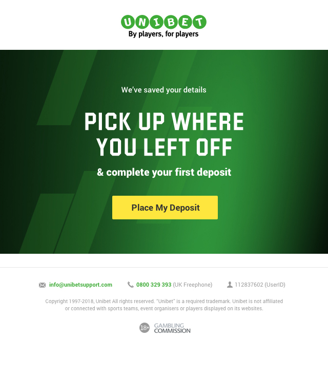 Unibet - cart abandonment email