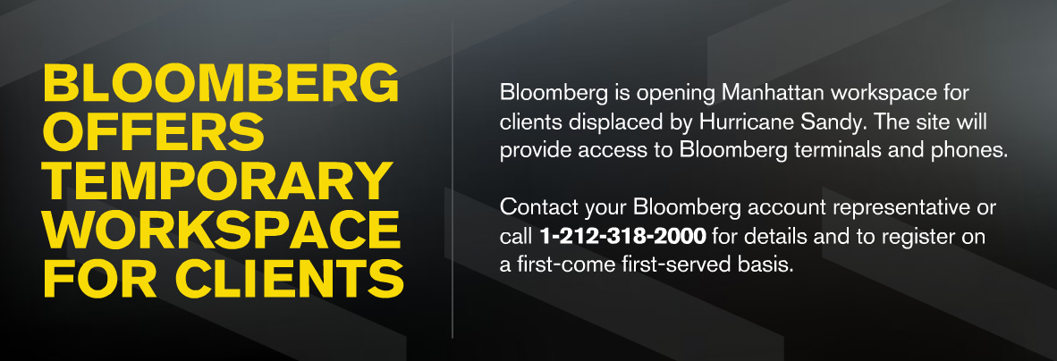 BN advert appearing on Bloomberg Terminals during Hurricane Sandy