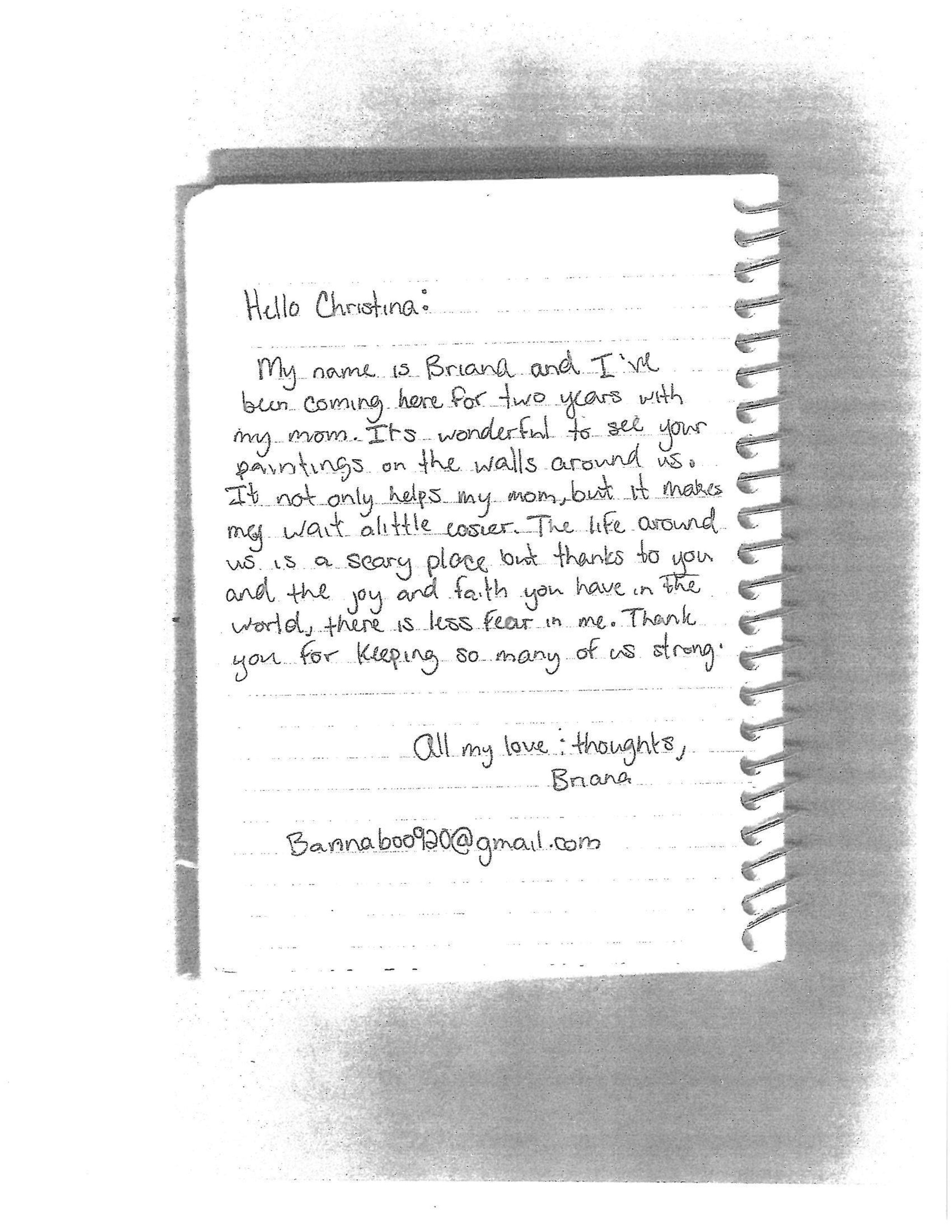 Letter from Briana