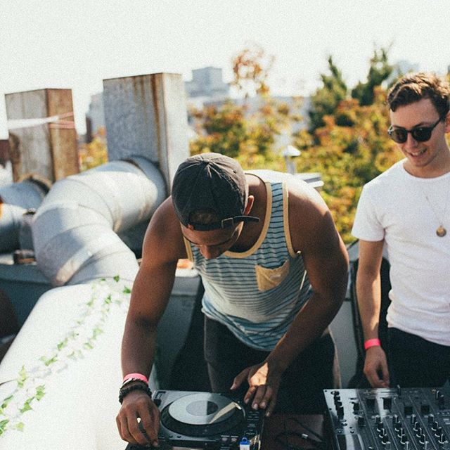 Abdou DJing for a rooftop event in the early days of KAJ