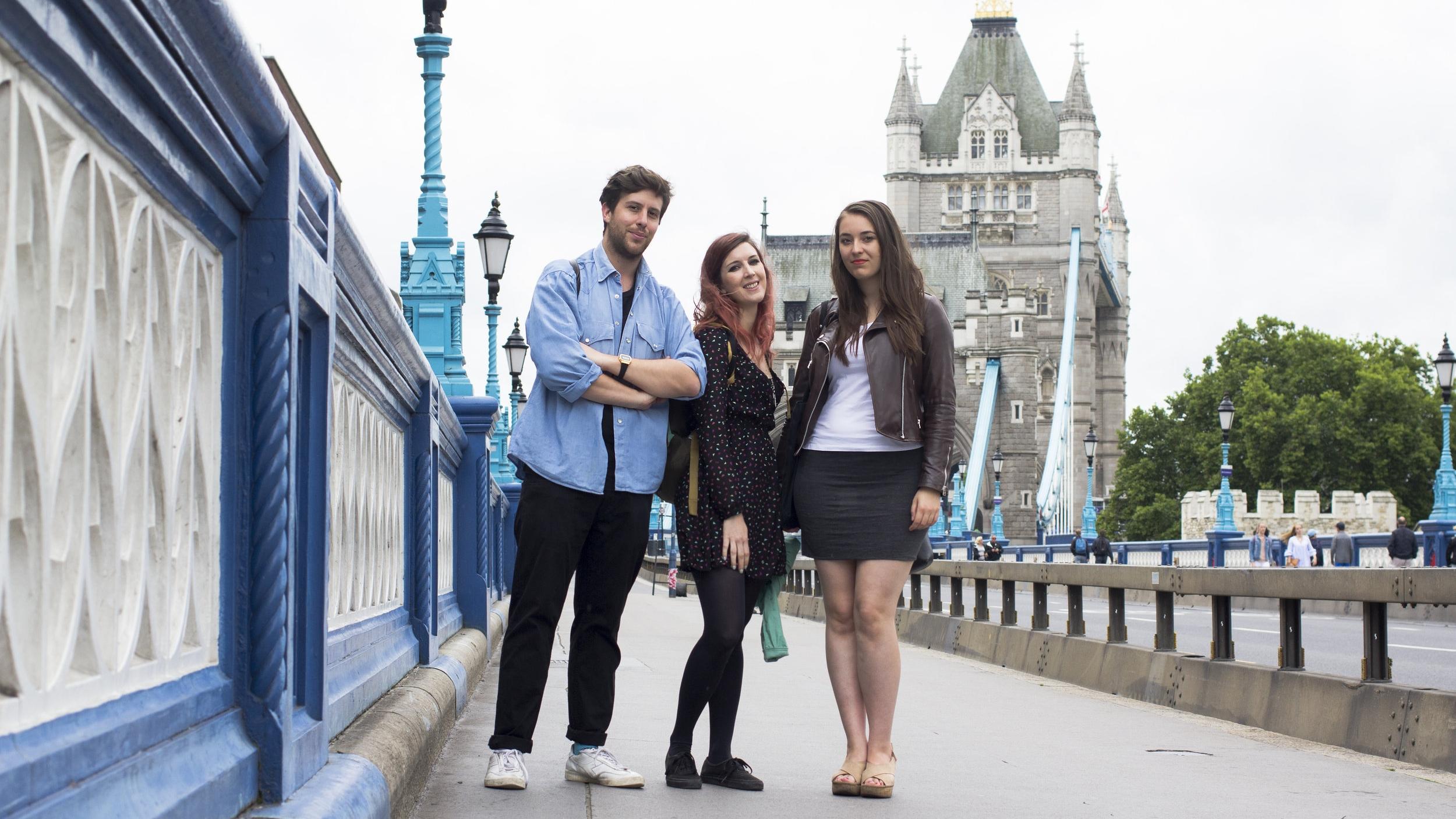 Huge School London students Luca, Carlota, and Agnieszka
