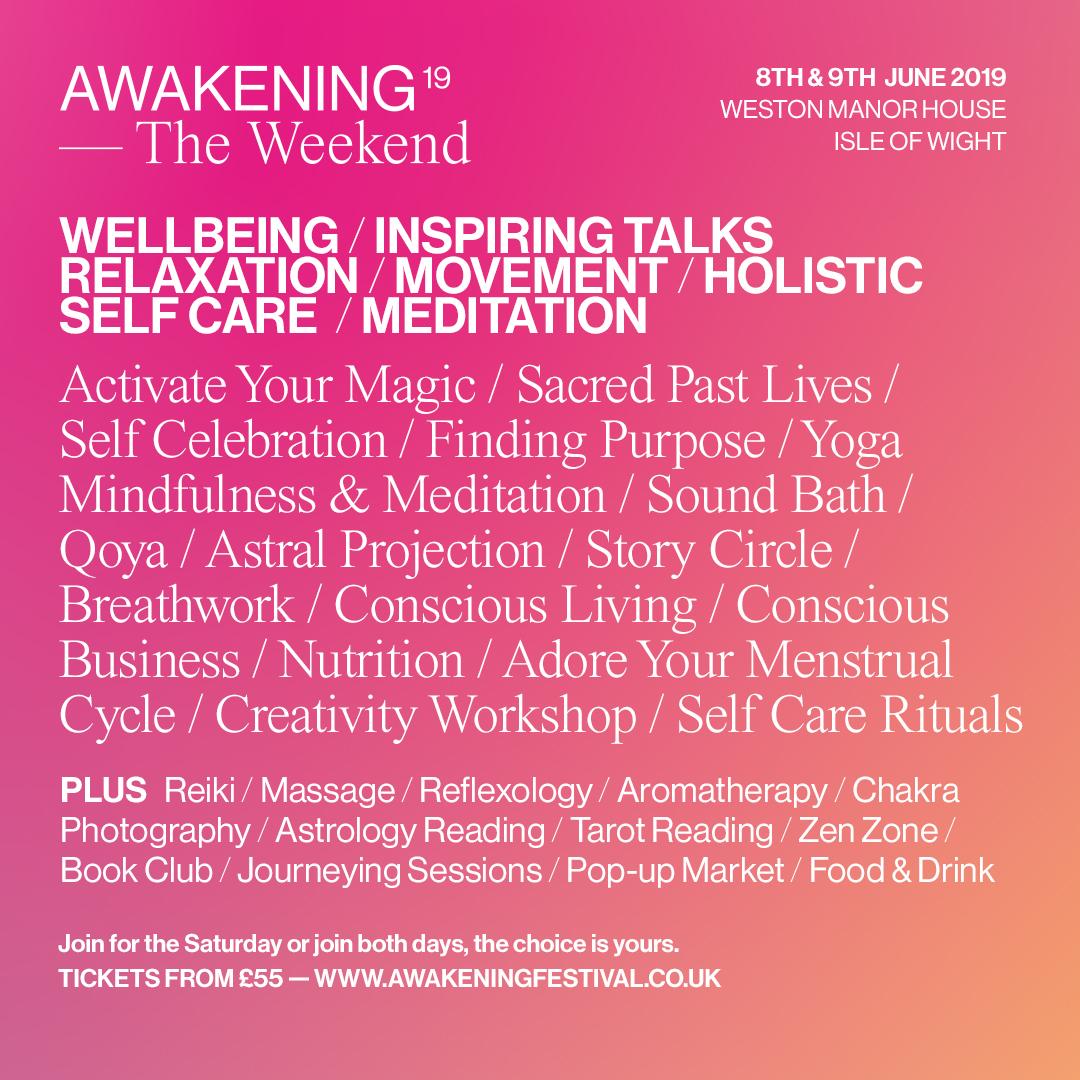 THE Awakening Weekend 8&9 June 2019 Isle of Wight Line up