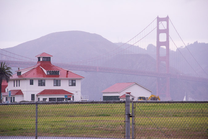 The scene from Fort Point Brewing's back door on a misty day