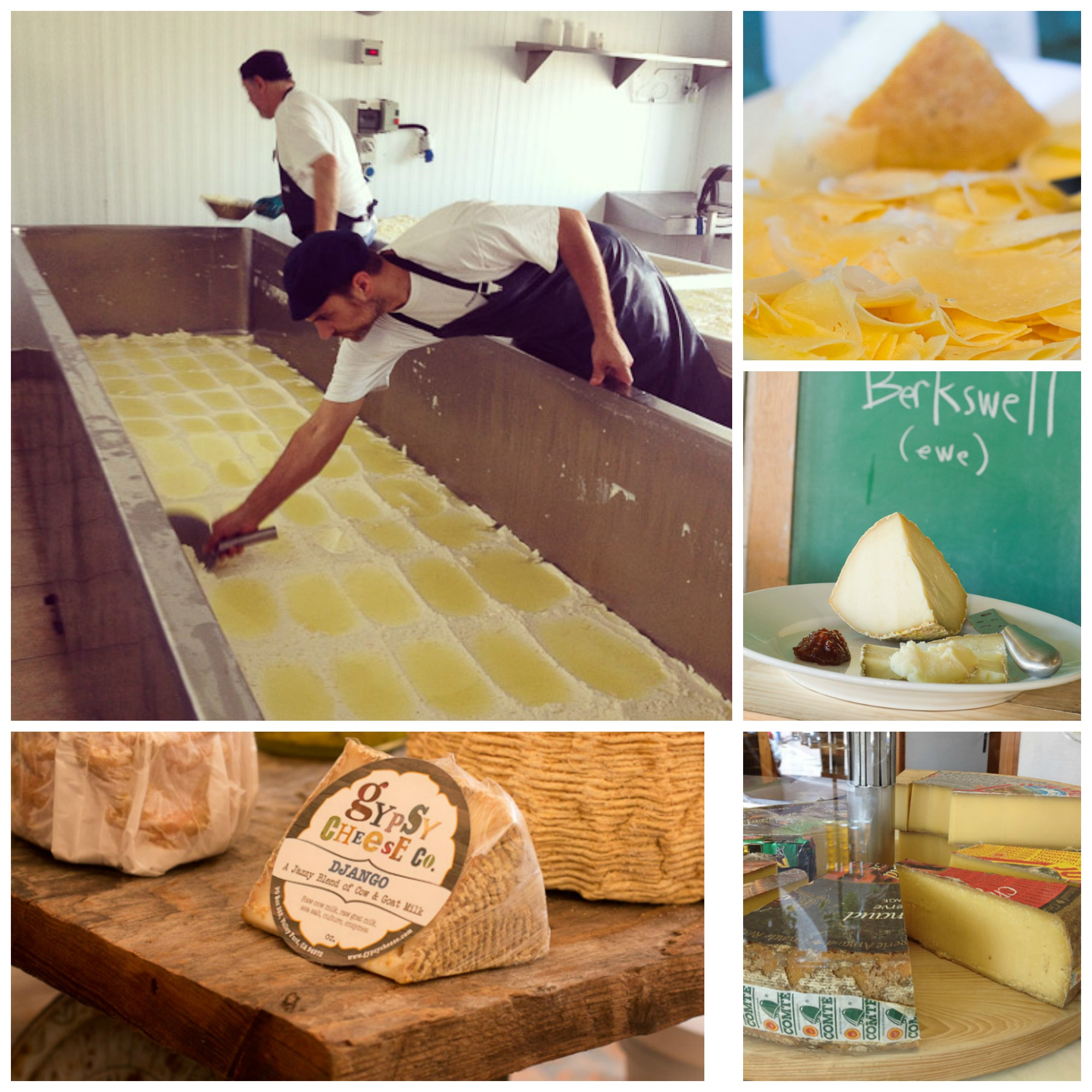 Clockwise from left- scooping curds at Stichelton in Nottingham, Estero Gold, Berkswell, Comté, Gypsy Rose